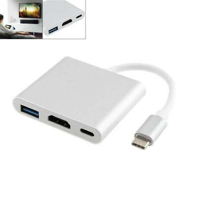 TypeC USB 3.1 to USB-C 4K HDMI USB 3.0 Adapter 3 in 1 Hub For Macbook Pro Silver