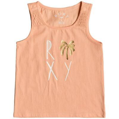 ROXY - Girls Vest Top Sleeveless Tee - Salmon Pink - Age 4-6 - Surf Summer