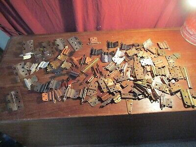 Lot of Mixed Vintage Assorted Cabinet and Door Hinges Brass Copper Metal