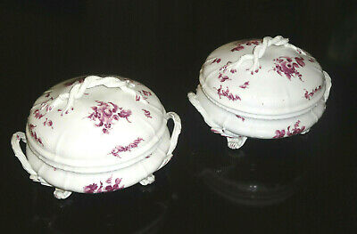 SET Antique Victorian 1800'S Royal Nymphenburg Porcelain Serving Bowl covered