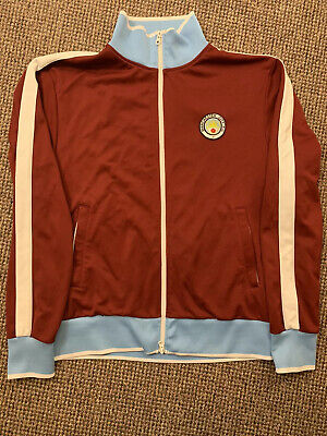 Official Manchester City Size M FC Football Club Mens Retro Jacket Maine Road