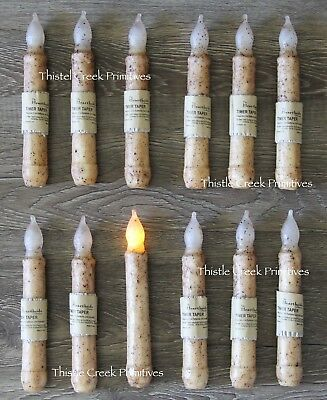 "Set of 12 - LED Burnt Ivory 6"" - 6.5"" Battery Operated TIMER Taper Candles"