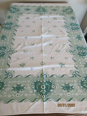 "Vintage Printed Tablecloth, Green Hearts, 56"" X 62"""