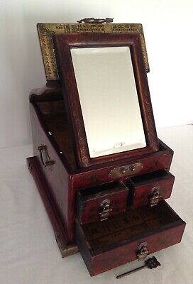 Vintage/Antique Asian Jewelry/Shaving Box Chest in Wood w/Mirror