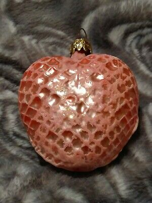 West German Glittered Peach Heart Blown Glass Christmas Ornament 3""