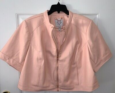 Isaac Mizrahi Faux Leather Cropped Jacket Moonlight Grey 8 NEW A352407