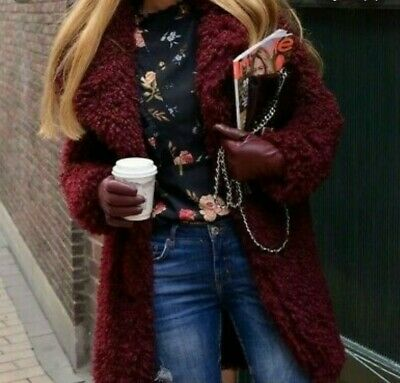 ZARA BLOGGERS BURGUNDY SOFT FAUX FUR TEDDY COAT SIZE M REF.6318//232