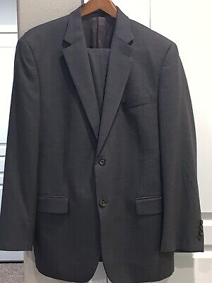 Ralph Lauren Mens Suit Jacket 100% Wool Pin Stripe Made For Dillards Gray Lined