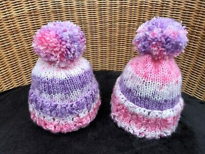 New ! One  Hand Knitted 0 - 3 Months Baby Girls Pink Lilac & White  Hat