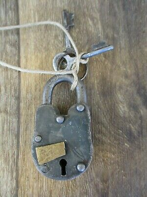 Old Vtg Antique Collectible Cast Iron Padlock Lock With KeyS WORKS GREAT RARE