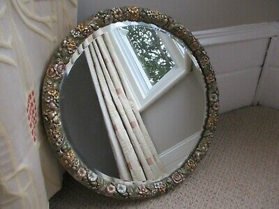 Large Antique Barbola Carved Wooden Wall Hanging Mirror Circular C.1930's Floral