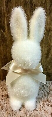 Flocked Button Nose Easter Bunny Rabbit with Ribbon WHITE -Sold out everywhere!