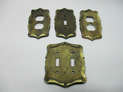 4 vintage Amerock carriage house electric plates- antique brass finish