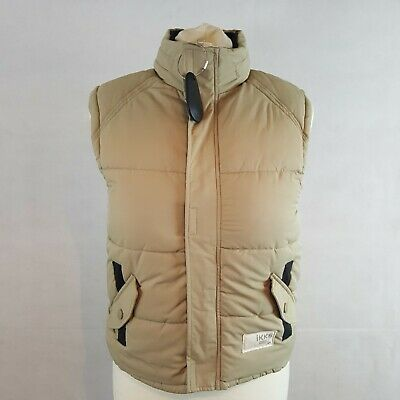IKKS Girls Puffer Gillet Body Warmer Beige Size 10 Yrs Hooded Fleece Lining