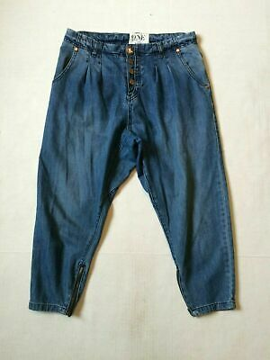 One X One Teaspoon Long Rise Relaxed Zip Ankle Womens 25 X 21 Drop Crotch Blue