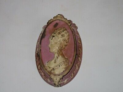 Antique Vtg 1920s DOOR KNOCKER Cast Iron Waverly VIctorian Woman Cameo (V113)