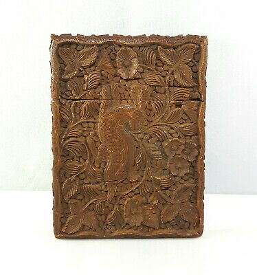 Antique Chinese 19th Century Carved Sandalwood Card Case ~ Superb Detail