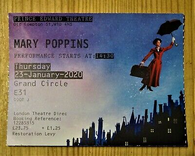 Mary Poppins ticket stub, musical, Prince Edward Theatre, London