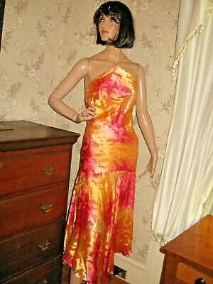 NWT FLORI DESIGN 1920s STYLE SILK COCKTAIL PARTY DRESS w/SEQUINS AND BEADS - 7/8