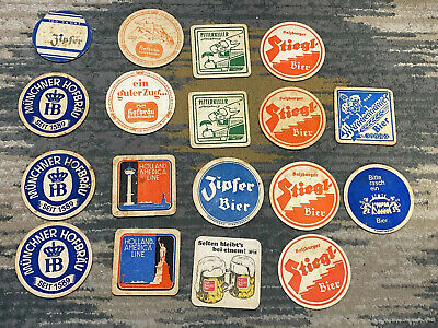 Lot of 18 Vintage German And Other Beer Coasters Beer Mats Misc Breweries !!!!!