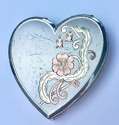 Vintage Sterling Silver Compact Vermeil 99grams Heart Shape Etched Free Shipping