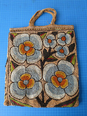 Vintage antique arts & crafts hessian bag embroidered with wool, folk art