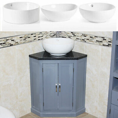 Grey Painted Bathroom Vanity Unit Corner Wash Stand Black Quartz & Ceramic Basin
