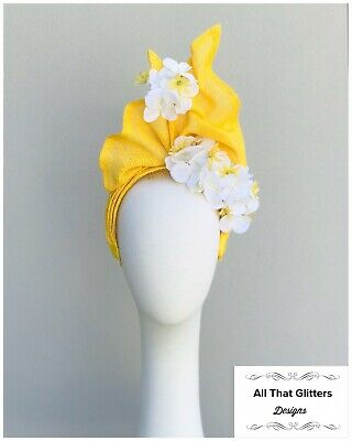 Ladies Yellow & White Floral Fascinator Headband Wedding Races Melbourne Cup