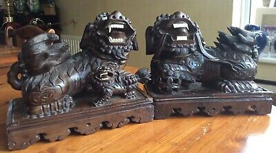 Fabulous Chinese Antique 19th C Large Pair Foo Lions Dogs Carved Wood