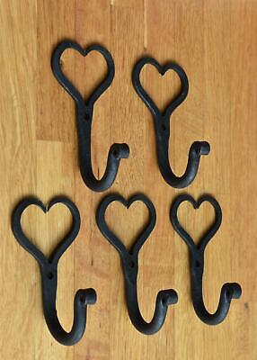 5 small wrought iron Shaker heart hooks folk art wall hanger door hook GHH1