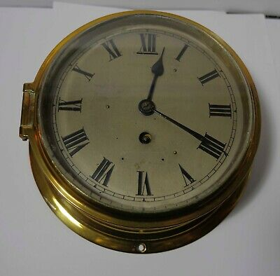 Antique Ships Clock, Solid Brass, 8 Inches, works beautifully British Empire Mov