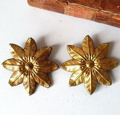 Rosette Antique brass picture hook cover pair Flower Wall hardware 2.09 inches