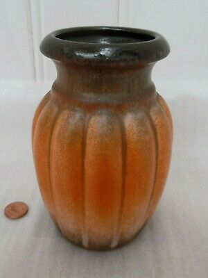 60s 70s WEST GERMAN VASE, Vintage SCHEURICH POTTERY, Retro ORANGE CERAMIC DECOR