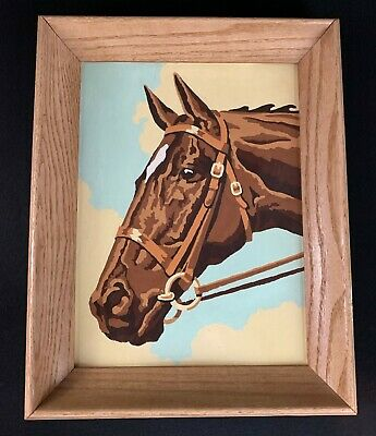 Vintage PAINT BY NUMBER Western Brown Horse Ranch Barn 1950s Framed