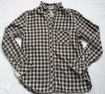 Victorias Secret Womens Pajama Top Plaid Long Sleeve Cotton Silk Accents Size S