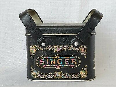 Vintage Singer Sewing Machines Collector Tin Sewing Basket Handles Black