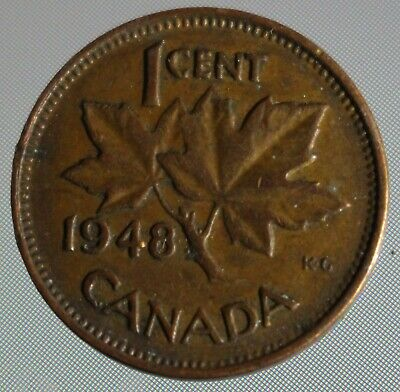 1948  Canadian penny one cent A points between Denticle