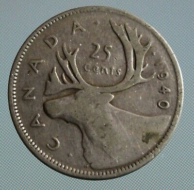 1940 Canada quarter - this 25 cent coin is 80% silver