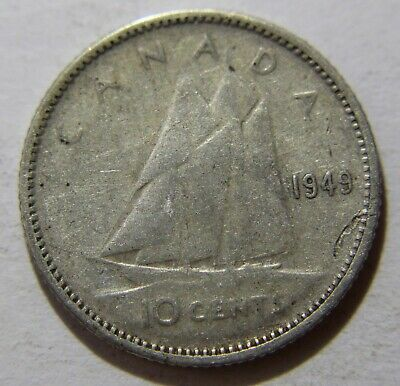 1949 Canada dime - this 10 cent coin is 80% silver