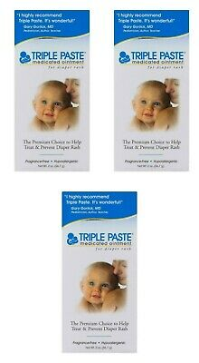 3 Packs Triple Paste Medicated Ointment For Diaper Rash Fragrance Free 2 Oz Ea