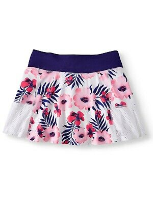 Avia Athletic Girls Pull On Scooter Skort Size Large (10-12) White Floral NEW