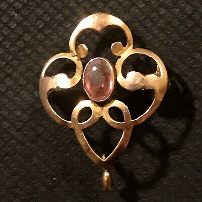 Edwardian Art Nouveau Antique Yellow Metal Brooch With Pale Pink Sapphire Stone