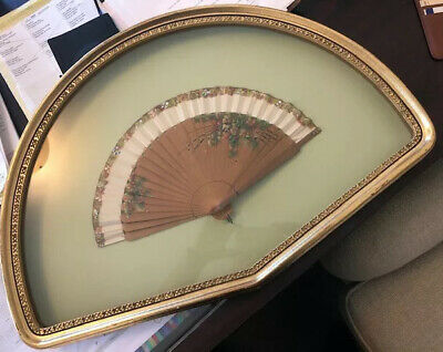 ABSOLUTELY BEAUTIFUL ANTIQUE HAND PAINTED FAN IN GOLD SHADOW BOX for Charity