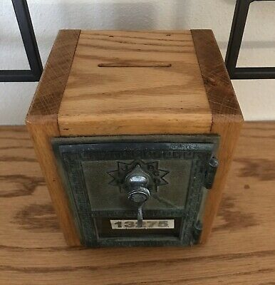 Vintage Mid Century 1961 Wood Post Office Box 13275 Bank Combo Tested and Works