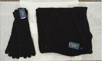 POLO Ralph Lauren - Cable Knit Snood & Long Gloves set (Black OR Grey)