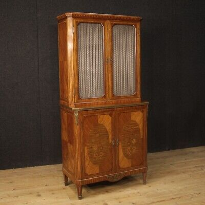 Cupboard Bookcase Wooden Furniture Antique Style Inlaid Showcase Dresser 4 Ante