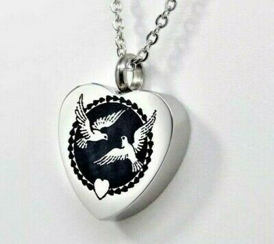 Doves Heart Urn Necklace || Engraveable Ashes Holder Jewelry || Bird Lover's Urn