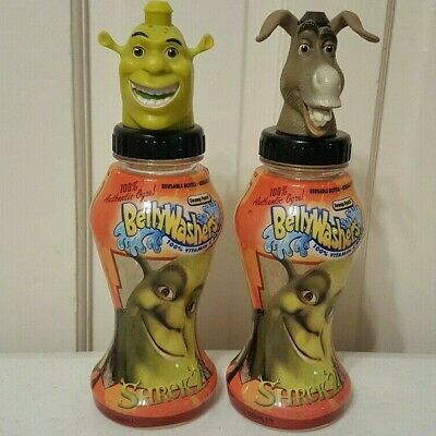 2004 Shrek & Donkey (Set of 2)  BELLYWASHERS BOTTLE/TOPPER In-Zone pre good2grow