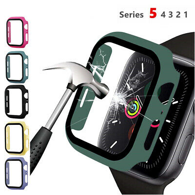 For Apple Watch Series 5 4 3 2 1 Hard Bumper Case Cover Tempered Glass 40mm/44mm