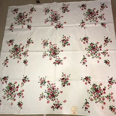 "Wilendur ""Princess Rose"" vintage tablecloth with paper tag and label"